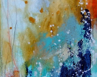 Abstract Art Abstract Painting Contemporary Art Home Decor Blue Orange Gold - Abstract Wall Art - Abstract Fine Art - Original Painting Art