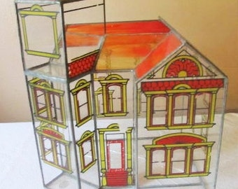 """sale was 65.00     Vintage Leaded Stained Glass Terrarium Planter Victorian House Home Church 15"""" x 12"""" x 9"""""""