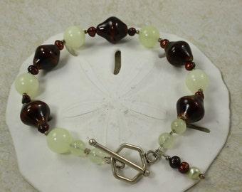 SALE Bracelet Lampwork and Carnelian Beads