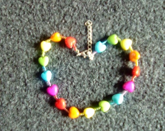 Rainbow Heart & Bead Choker Necklace