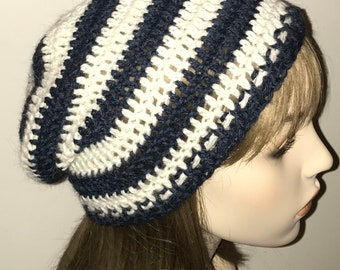 Denim Heather and Natural Alpaca Slouchy Beanie Crochet Hat