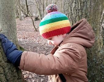 Rainbow hat, knitted baby hat, child winter hat, baby hat, unisex hat, unisex baby hat, girls winter hat, girls beanie hat, boys beanie hat