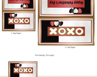 PRINT YOUR OWN XoXo Valentine's Day Bag Toppers