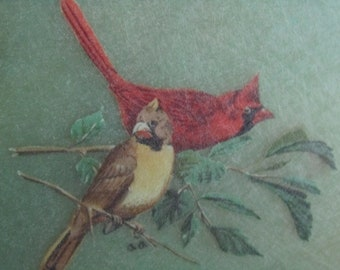 Round Vintage Serving Tray with birds