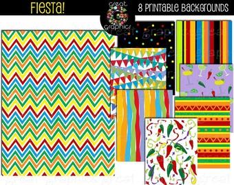 Fiesta Paper Fiesta Party Digital Paper Cinco De Mayo Party Paper Fiesta Printable Instant Download