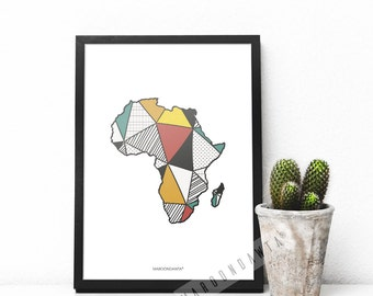 African Map, Map of Africa, African Artwork, African Print, Colourful A4 Geometric Print