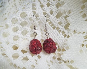 Zombie Brain Earrings | Brain Fish Hook Earrings | Unique Polymer Clay Earrings | Halloween