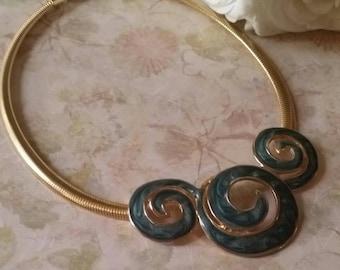 Vintage Enamel Bib Necklace Enamel Necklace Omega Chain The Wild Vintage Rose