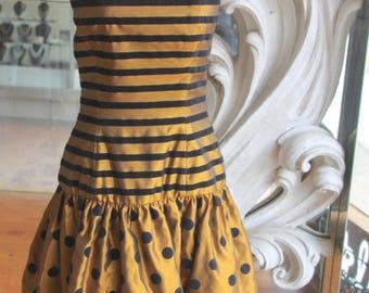 Vintage 1980s Polka Dots & Stripes Strapless Party Dress