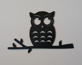 Owl on branch metal art, owl metal art, owl wall decor, owl home decor, owl wall hangings