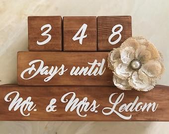 Custom Wedding Countdown Blocks - Engagement Gift, Bridal Shower, Wedding, Future Bride
