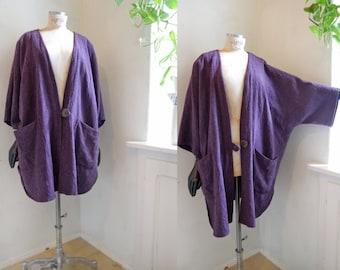 Vintage jacket coat long cardigan Kimono purple Rough woven linen Boho cape Baggy cardigan Jacket One Size