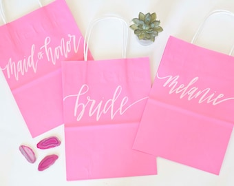 Custom gift bags + Pink gift bags + Wedding gift bags + Bridal shower gift bag + Bachelorette Party bags + Welcome Bags / Handwritten