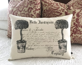 French Topiary Pillow Cover Garden 12x16 Canvas Farmhouse Cottage Decor  Cushion #230 FlossieandRay