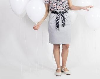Denim pencil skirt - Striped skirt with pockets - High waist tulip skirt - Handmade skirt with sash belt - Pure cotton skirt - Knee length