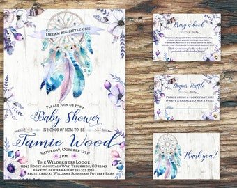 Boho Dreamcatcher Baby Shower Invitation  thank you card,diaper raffle card,bring a book card-printable-purple flowers-Baby shower suite/kit