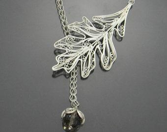 Oak Leaf Necklace, Russian Filigree Necklace, Sterling Silver Necklace, Smoky Quartz Necklace, Handmade Filigree, Smoky Topaz