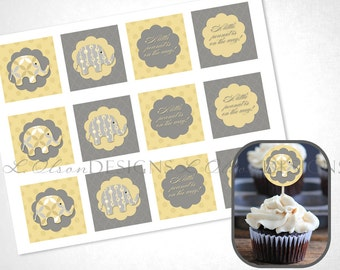 Stacked Elephants Cupcake Toppers - Yellow - DIY Printable - INSTANT DOWNLOAD