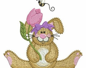 Easter Cute Bunny Holiday Machine Embroidery Design Instant Download 4x4 hoop