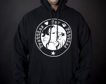 "Pretties for Pitties ""Be The Voice For The Voiceless"" Pull over Heavy Weight Black Hoodie, Profits Benfit Pitbull Outreach"