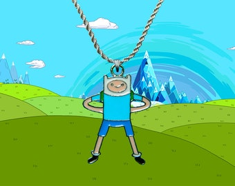 Adventure Time sterling silver / faux leather necklace with Finn charm