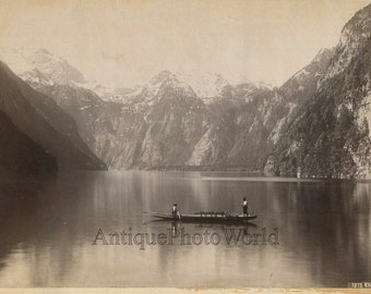 Konigsee Germany Bavaria two man in canoe on lake antique albumen photo