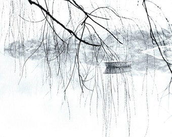 Central Park, NYC, 1979.  Boat on Lake in Winter.  An Original Art Card.