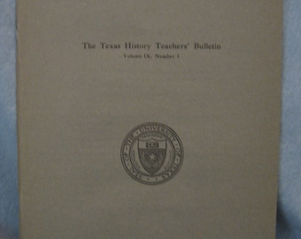 1920 University of Texas Bulletin for Texas History Teachers With Original Mailing Sleeve Never Mailed in Great Shape
