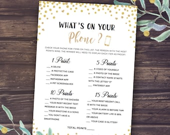 What's in your Phone Game, Instant Download, Printable Bridal Shower Games Whats on your phone, Gold glitter confetti, Wedding Shower Fun