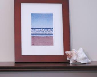 Ocean Sea Beach Waves On Sand, Wells Beach, Maine - Limited Edition Giclee Print in Cherry Wood Frame