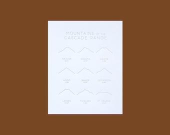 Mountains of the Cascade Range Letterpress Illustrated Art Print 8x10