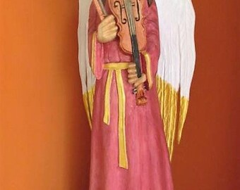 Wooden Angel Wood Carved Angel Angel Statue Angel Figurine Christmas Angel