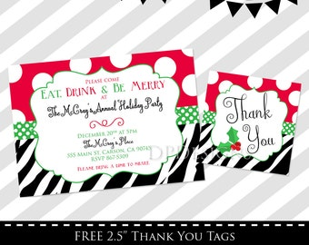 Holiday Party Invitation - Christmas Party Invite - XMAS - FREE Thank You Tags
