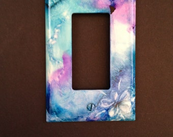 Jewel-tone Purple & Turquoise Abstract w/ Flower -Switch Plate - Handpainted Wall Art Decor