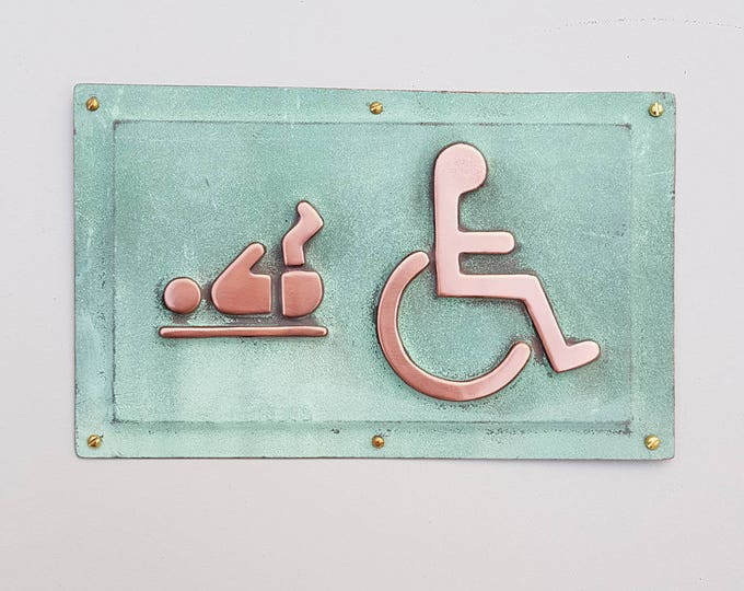 "Baby changing and Wheelchair user disabled toilet lavatory sign 4.5""""/115mm high in polished and patinated copper sheet with fixings g"