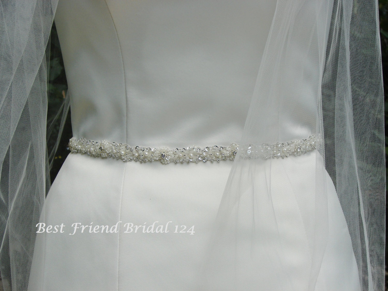 Skinny Beaded Belt Bridal Belt Thin Wedding Dress Belt