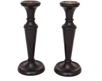 Antique Ebony Candle Holders, Pair of Tall Ebony Candlestick, Wood Candle Holders, Edwardian Ebony, Turned Wooden Candle Holders