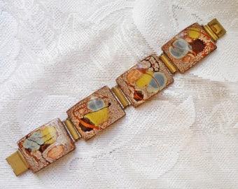 "Vintage Mid Century Abstract Enamel Link 7.25"" Bracelet"
