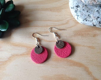 Leather - round earring salmon leather and Brown earrings
