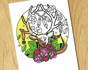 Boho Coloring Book Page, deer with antlers nature flowers roses, geometric pattern, colouring pages for children boys and girls