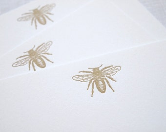 Antique Bee Letterpress Stationery - Set of 6 Flat Notes