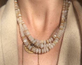 "3 strand mother of pearl necklace // hand hammered silver clasp // 17"" + 2"" extender"
