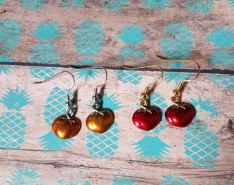 Hand Painted Tomato charm earrings