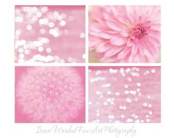 Pink photography, set of 4 11x14 wall art prints, dandelion floral art, sparkling light abstract, modern bathroom art, girls bedroom decor