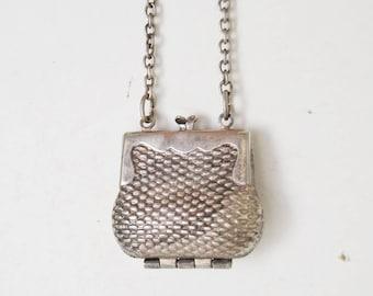 Vintage silver mini bag necklace