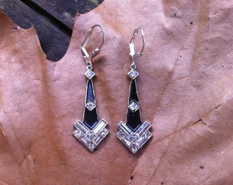 Deco Earrings With Baguette Stones