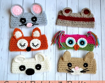 PATTERN Animal Ear Warmers - Crochet - Mouse, Fox, Owl, Bear, Cat, Monkey