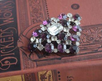 Vintage Amethyst and Paste Brooch, Huge Purple Rhinestone Gem Pin, Jewelry gift for her