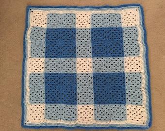 Crocheted Afghan - Blue Buffalo Check