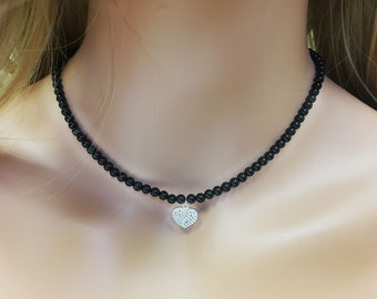 Genuine Black Onyx Necklace with CZ heart charm, Solid Sterling Silver, Handmade